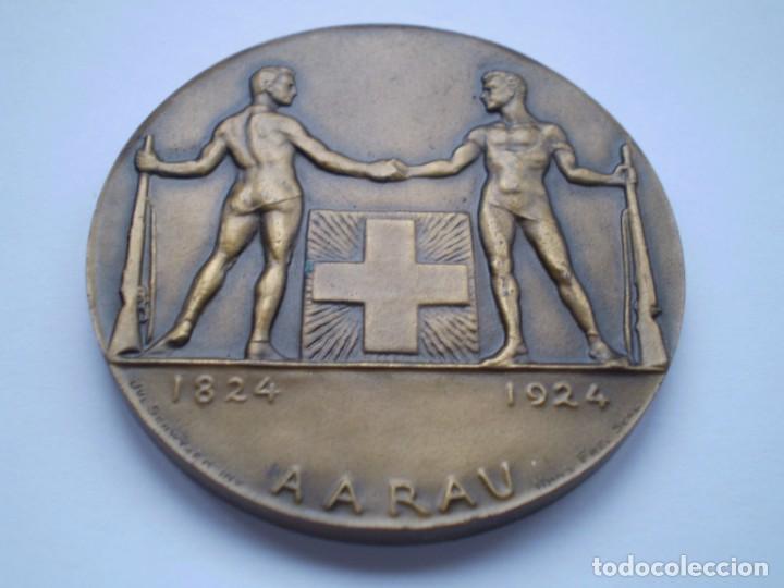 Medallas históricas: 81SCD14 Suiza Aarau 1924 medalla de bronce festival de tiro - Foto 2 - 270406903
