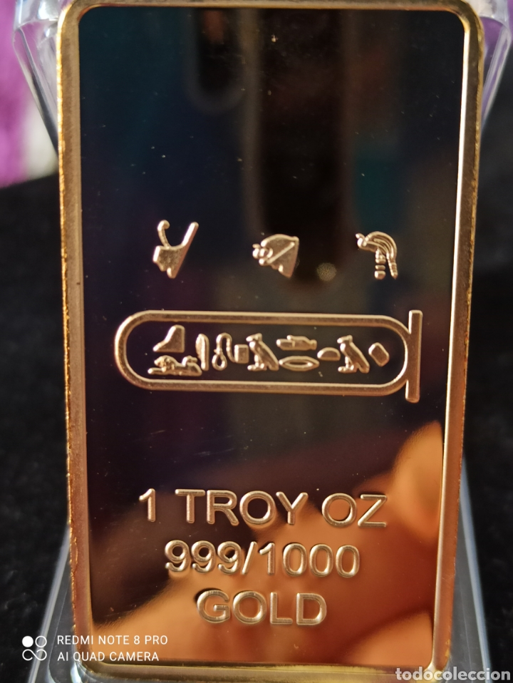 *UNA ONZA TROY*LINGOTE EGIPCIO BAÑO DE ORO LAMINADO DE 24 K ,. (Numismática - Medallería - Histórica)