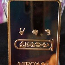 Medallas históricas: *UNA ONZA TROY*LINGOTE EGIPCIO BAÑO DE ORO LAMINADO DE 24 K ,.. Lote 272295773
