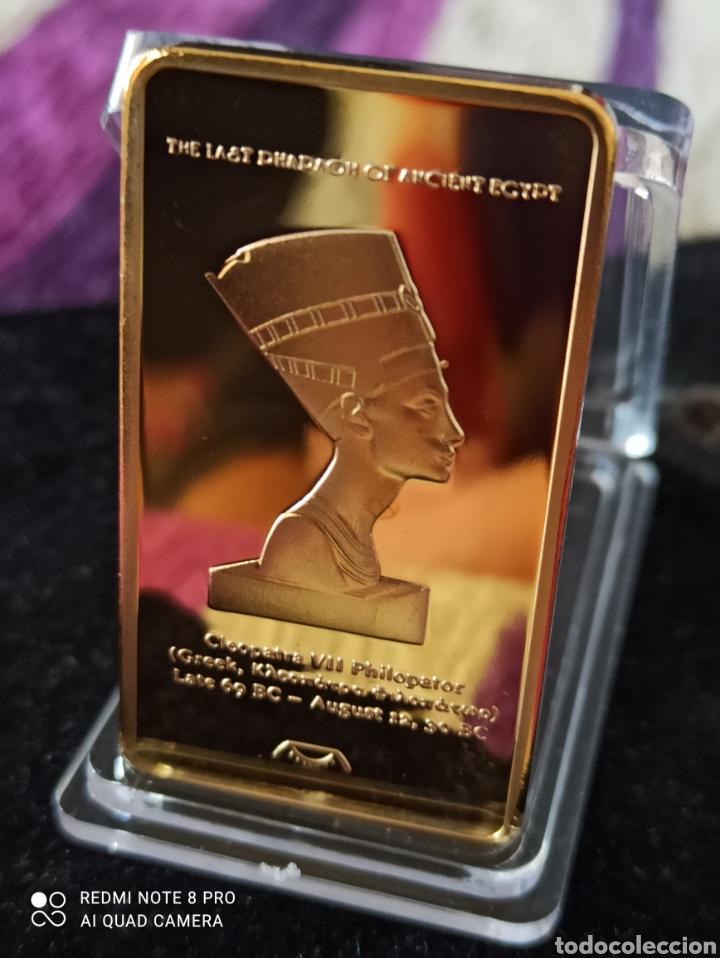 Medallas históricas: *UNA ONZA TROY*LINGOTE EGIPCIO BAÑO DE ORO LAMINADO DE 24 K ,. - Foto 2 - 272295773