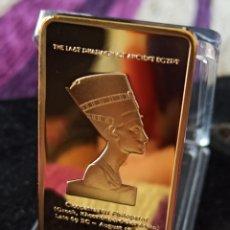 Medallas históricas: *UNA ONZA TROY*LINGOTE EGIPCIO CHAPADO EN ORO DE 24 K ,.. Lote 272295773