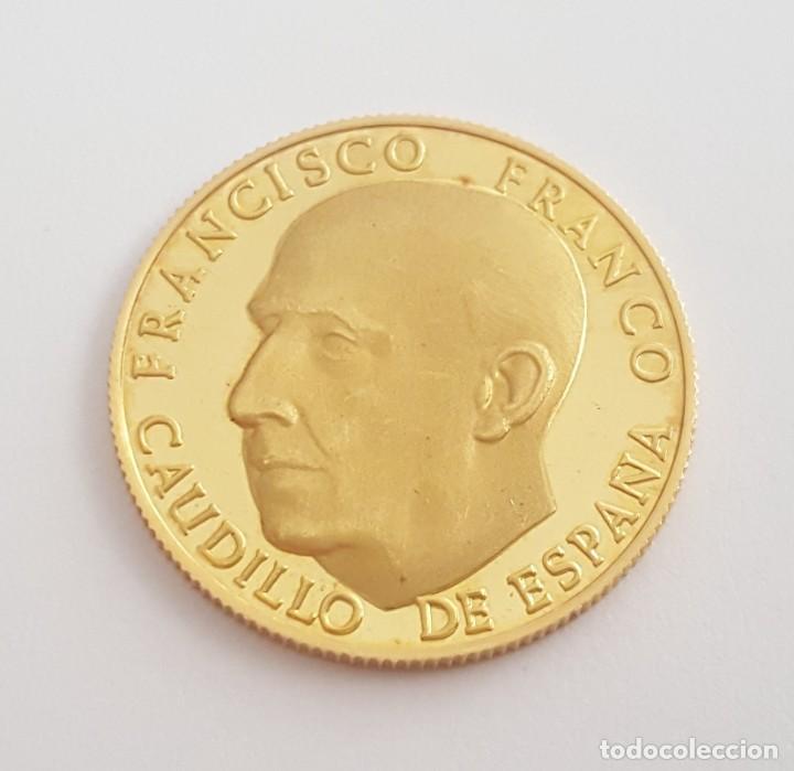 MONEDA MEDALLA DE FRANCO ORO MACIZO DE 22 KT CONMEMORATIVA LA LEY ORGANICA 14 DE DICIEMBRE 1966 (Numismática - Medallería - Histórica)