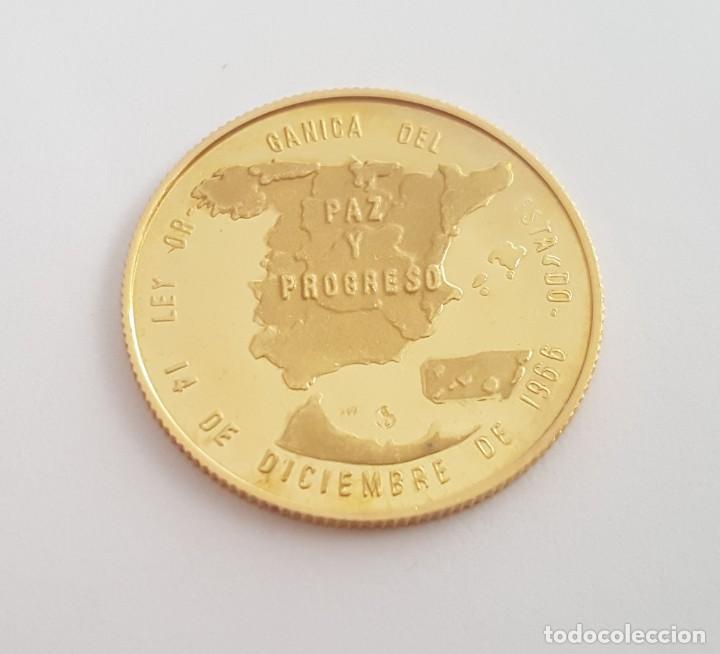 Medallas históricas: MONEDA MEDALLA DE FRANCO ORO MACIZO DE 22 KT CONMEMORATIVA LA LEY ORGANICA 14 DE DICIEMBRE 1966 - Foto 2 - 273997528