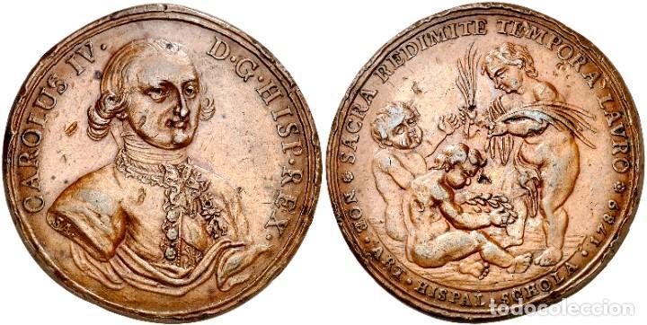 MEDALLA CARLOS IV 1789 SEVILLA PROCLAMACION ESCUELA DE LAS BELLAS ARTES (Numismática - Medallería - Histórica)