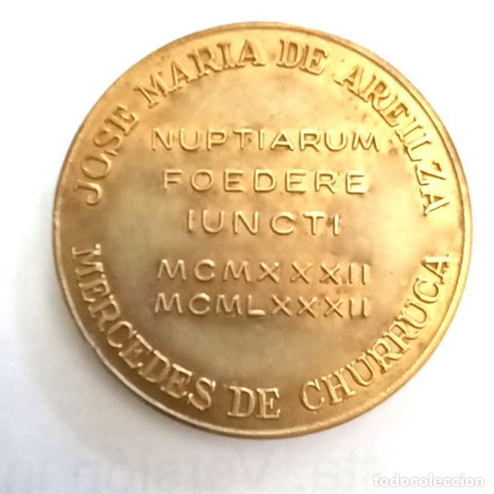 MEDALLA BRONCE BODAS ORO JOSÉ MARÍA DE AREILZA Y MERCEDES DE CHURRUCA (Numismática - Medallería - Histórica)