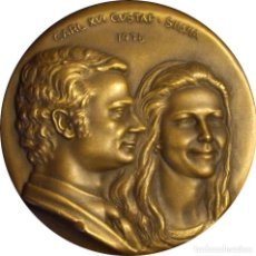 Medallas históricas: SUECIA. MEDALLA BODA REAL CARLOS GUSTAVO XVI Y SILVIA. 1.976. BRONCE. Lote 277254443