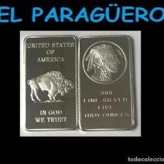 Medallas históricas: ESTADOS UNIDOS LINGOTE PLATA ( CABEZA DE GRAN JEFE INDIO Y BUFALO ) LEE DENTRO LA DESCRIPCION - Nº3. Lote 279469823