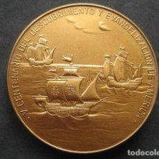 Medallas históricas: MEDALLA BRONCE. V CENTENARIO DESCUBRIMIENTO Y EVANGELIZACION DE AMERICA. ZARAGOZA OCTUBRE 1984. Lote 285145323