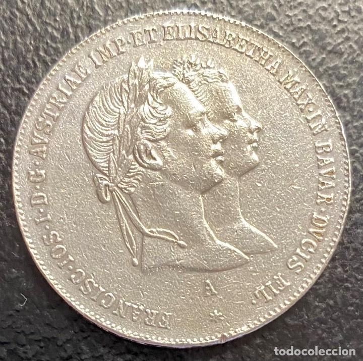 AUSTRIA, MEDALLA DE PLATA,CONMEMORATIVA DE LA BODA CON SISSÍ (Numismática - Medallería - Histórica)