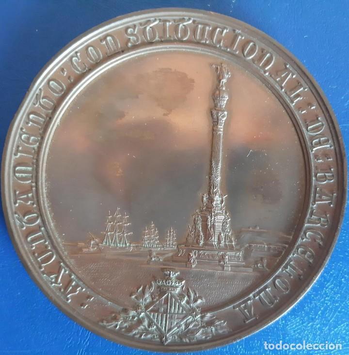 (MED-210900)ENORME Y COTIZADA MEDALLA CATALANA ( Ø 81 MM.) - INAUGURACIÓN MONUMENTO A COLÓN AÑO 1888 (Numismática - Medallería - Histórica)