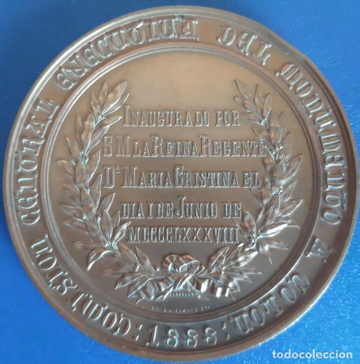 Medallas históricas: (MED-210900)Enorme y cotizada medalla catalana ( Ø 81 mm.) - Inauguración monumento a Colón año 1888 - Foto 2 - 287991218