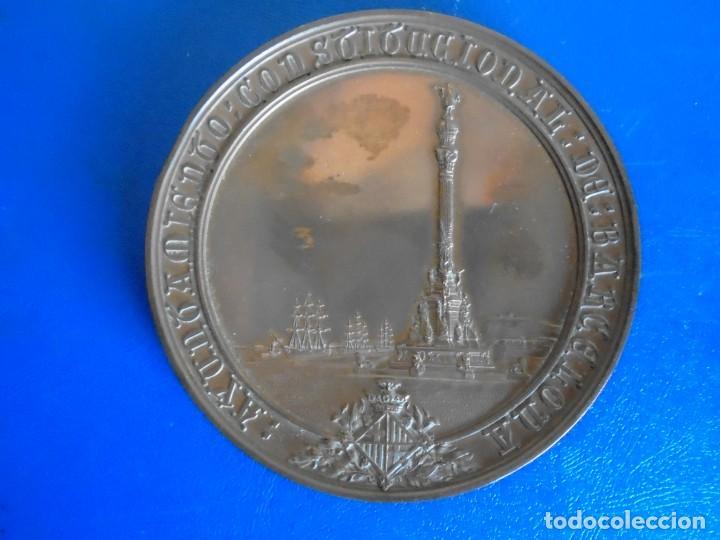 Medallas históricas: (MED-210900)Enorme y cotizada medalla catalana ( Ø 81 mm.) - Inauguración monumento a Colón año 1888 - Foto 3 - 287991218