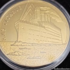 Medaglie storiche: MONEDA CONMEMORATIVA DEL VIAJE DEL TITANIC ORO LAMINADO DE 24 K. Lote 293291648
