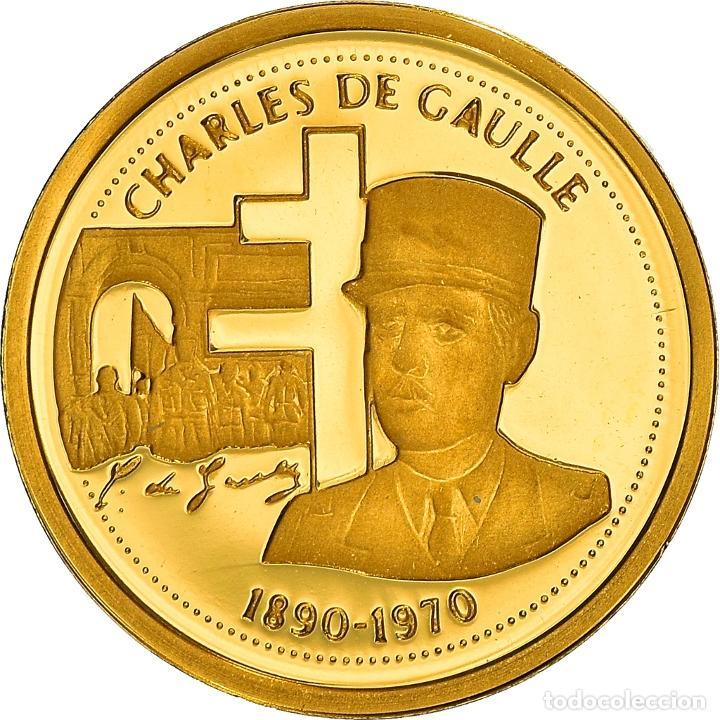 [#898499] FRANCIA, MEDALLA, CHARLES DE GAULLE, POLITICS, SOCIETY, WAR, FDC, ORO (Numismática - Medallería - Histórica)