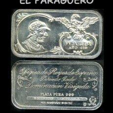 Medallas históricas: LINGOTE DE PLATA MACIZA EDICION LIMITADA HOMENAJE AL REY ESPAÑOL VISIGODO WALIA AÑO 416 -Nº67. Lote 293970053