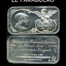 Medallas históricas: LINGOTE DE PLATA MACIZA EDICION LIMITADA HOMENAJE AL REY ESPAÑOL VISIGODO TEODORICO I AÑO 452 -Nº71. Lote 293970753