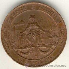 Medallas temáticas: (MED-4)MEDALLA INAGURACION FERROCARRIL VILLANUEVA A BARCELONA 29-12-1881.BRONCE(5,6X5,6CM.). Lote 16820405