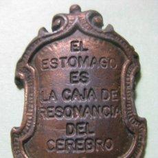 Medallas temáticas: MEDALLON EL ESTOMAGO ES LA CAJA DE RESONANCIA DEL CEREBRO. Lote 18150438