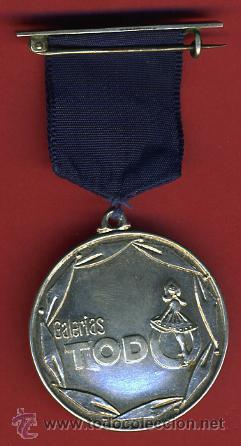 MEDALLA PUBLICIDAD GALERIAS TODO 1964 , PLATEADA , REVERSO GRABADO , ORIGINAL, G (Numismática - Medallería - Temática)