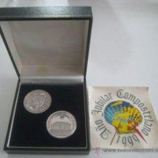 Medallas temáticas: PAR MEDALLAS CONMEMORATIVAS AÑO JUBILAR 1999 EN PLATA 999. Lote 33451775