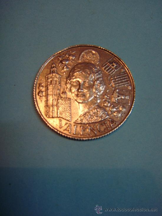 Medallas temáticas: Antigua y escasa moneda de plata de Fallera de valencia con escudos de las poblaciones valencianas. - Foto 2 - 34070246