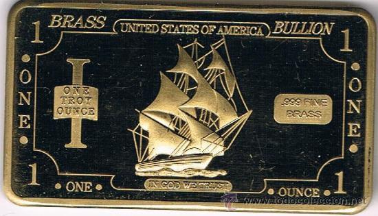 LINGOTE DE LATÓN - 1 OZ .999 - VELERO USA (Numismática - Medallería - Temática)