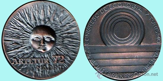 ESPAÑA 1972.-CONGRESO DE ECOLOGÍA Y TURISMO DEL MEDITERRANEO OCCIDENTAL . (Numismática - Medallería - Temática)