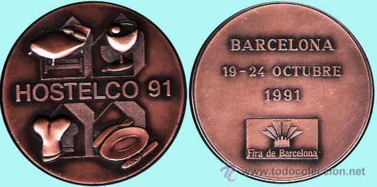 """ESPAÑA 1991.- PUJOL.- """"HOSTELCO 91"""" BARCELONA 19-24 OCTUBRE FIRA DE BARCELONA. BRONCE. (Numismática - Medallería - Temática)"""