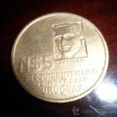 Medallas temáticas: MEDALLON BRONCE N $5 ARTIGAS. SESQUICENTENARIO - URUGUAY. Lote 37592443