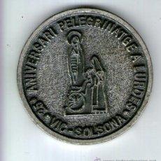 Medallas temáticas: MEDALLA DEL 25 ANIVERSARIO PEREGRNIACION A LOURDES - VIC I SOLSONA. Lote 38589645