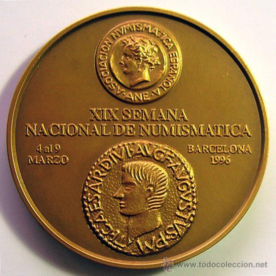 MEDALLA CONMEMORATIVA DE BRONCE . ASOCIACION NUMISMÁTICA ESPAÑOLA . (A.N.E.) AÑO 1996 (Numismática - Medallería - Temática)