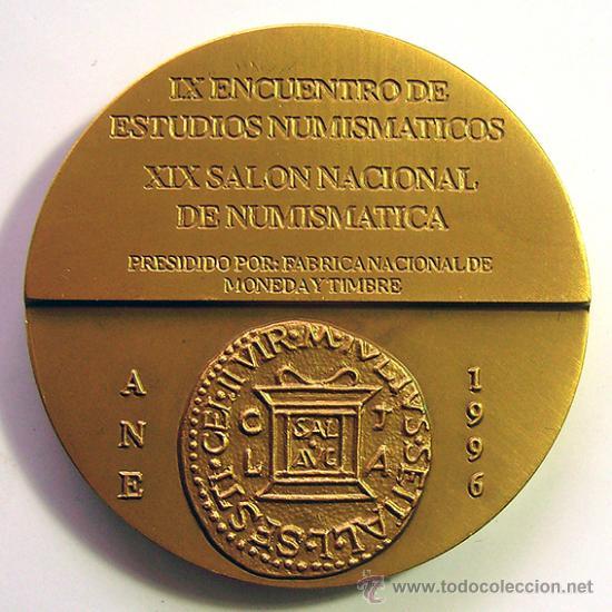 Medallas temáticas: MEDALLA CONMEMORATIVA DE BRONCE . ASOCIACION NUMISMÁTICA ESPAÑOLA . (A.N.E.) AÑO 1996 - Foto 2 - 38777024