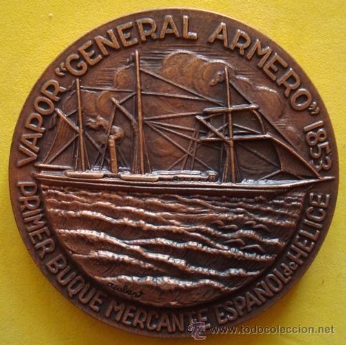 MEDALLA PRIMER BUQUE MERCANTE ESPAÑOL DE HELICE¨GENERAL ARMERO¨1853 (Numismática - Medallería - Temática)