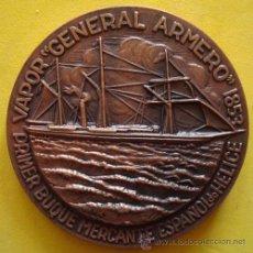 Medallas temáticas: MEDALLA PRIMER BUQUE MERCANTE ESPAÑOL DE HELICE¨GENERAL ARMERO¨1853 . Lote 40239479