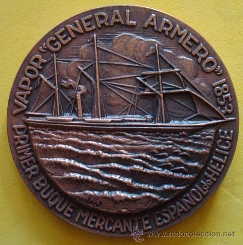 Medallas temáticas: MEDALLA PRIMER BUQUE MERCANTE ESPAÑOL DE HELICE¨GENERAL ARMERO¨1853 - Foto 3 - 40239479
