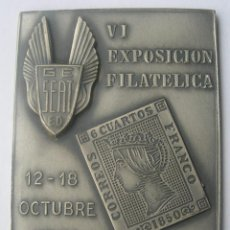 Medallas temáticas: PLACA VI EXPOSICIÓN FILATELICA SEAT 1964. Lote 40404242
