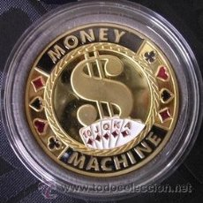 Medallas temáticas: MONEDA DE POKER PROFESIONAL COIN PRO SIMBOLO DOLAR MONEY MACHINE BONITO GUARDACARTAS. Lote 40826379