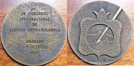 GRANADA (1983) MEDICINA: MEDALLA IV CONGRESO INTERNACIONAL CIRUGIA DERMATOLOGICA (Numismática - Medallería - Temática)