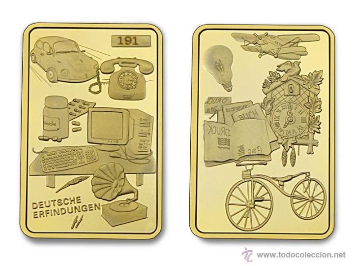 LINGOTE ORO 24K ALEMANIA - GRANDES INVENTOS - EDICION LIMITADA Y NUMERADA DIFICIL DE CONSEGUIR (Numismática - Medallería - Temática)