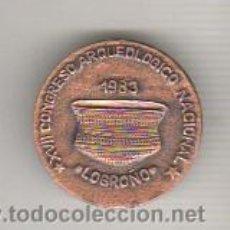 Medallas temáticas: MEDALLA CON AGUJAXVII CONGRESO ARQUEOLOGICO NACIONAL - LOGROÑO 1983. Lote 42057051