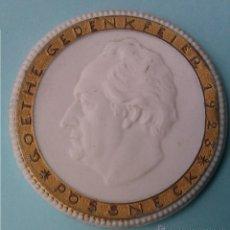 Medallas temáticas: MONEDA MEDALLA CONMEMORATIVA GOETHE DE PORCELANA Y PAN DE ORO 1923 I GUERRA MUNDIAL. Lote 42393521