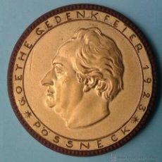 Medallas temáticas: MONEDA MEDALLA CONMEMORATIVA GOETHE DE PORCELANA Y LAS CARAS EN PAN DE ORO 1923 I GUERRA MUNDIAL. Lote 42393592