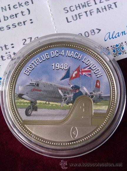 MONEDA CONMEMORATIVA DEL PRIMER VUELO DC-4 A LONDRES 1948 EDICION LIMITADA Y CERTIFICADA (Numismática - Medallería - Temática)