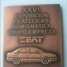 Medallas temáticas: PLACA XXVI EXPOSICIÓN FILATELICA Y NUMISMATICA SEAT 1991. Lote 40404207