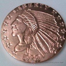 Medallas temáticas: MONEDA DE COBRE PURO 999 U.S.A INDIAN HEAD 1929 GRANDE Y EN CAPSULA , SIN CIRCULAR COPPER COIN. Lote 107216819