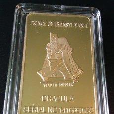 Medallas temáticas: BONITO LINGOTE CON ORO DRACULA TRANSYLVANIA EDICION LIMITADA Y NUMERADA DIFICIL DE CONSEGUIR. Lote 161439878