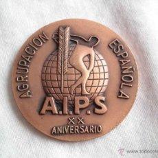 Medallas temáticas: A I P S.XX ANIVERSARIO AGRUPACION ESPAÑOLA ASAMBLEA NACIONAL BARCELONA ENERO 1977. Lote 43662720