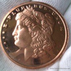 Medallas temáticas: MONEDA DE COBRE PURO 999 ESTADOS UNIDOS E.PLURIBUS.UNUM GRANDE U.S.A COPPER COIN. Lote 43736957
