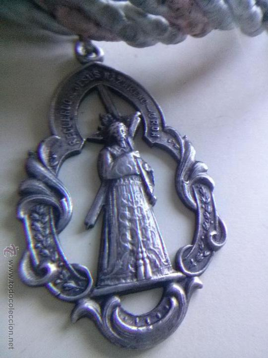 MEDALLA DE PLATA CON CORDON JESUS NAZARENO DE URDA( TOLEDO) (Numismática - Medallería - Temática)