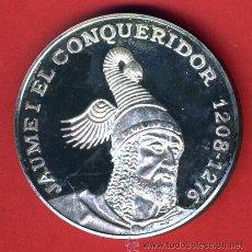 Médailles thématiques: MEDALLA DE PLATA PURA 1 ONZA , PROOF , DEDICADA A JAIME I , REGNE DE VALENCIA , ORIGINAL , 9B. Lote 44242081